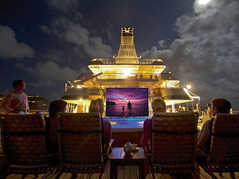Projection film du bateau de croisière SeaDream II
