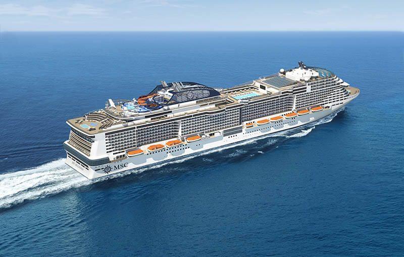 Photo aérienne du bateau de croisière MSC Bellissima