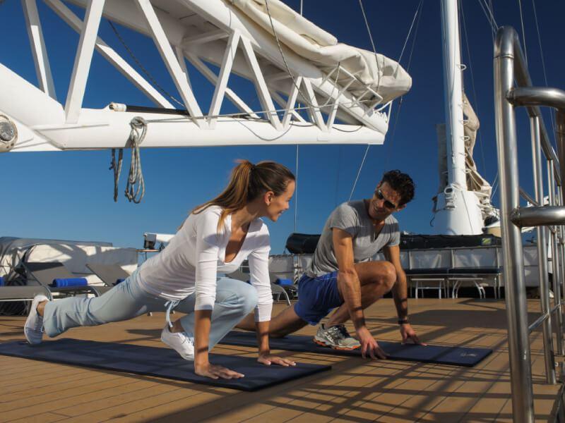 Salle de Gym du bateau de croisière l'Austral de la compagnie de luxe Ponant